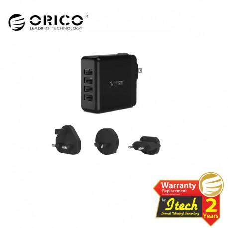 ORICO DSP-4U 34W 4 Port Smart Wall Charger with UK, AU, EU add on AC Plug