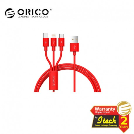 ORICO UTS-12 3 in 1 3A Nylon Braided Charge & Sync Cable 1.2 Meter